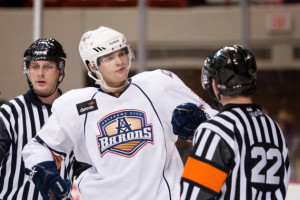February 4, 2011: The Oklahoma City Barons play the Peoria Rivermen in an American Hockey League game at the Cox Convention Center in Oklahoma City.