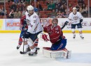 Jujhar Khaira (25) of the Oklahoma City Barons, Robert Mayer (29) of the Hamilton Bulldogs