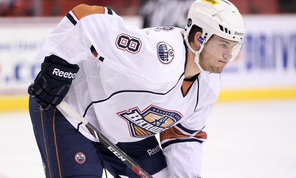 October 5, 2013: The Oklahoma City Barons play the Charlotte Checkers in an American Hockey League game at the Cox Convention Center in Oklahoma City.